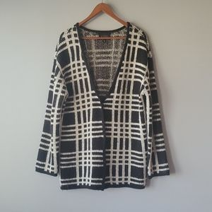 Blu Pepper Black White Striped Cardigan Sweater
